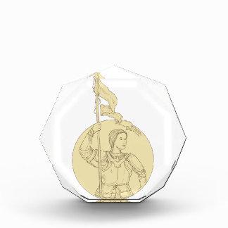 Weiblicher Ritter, der das Flaggen-Kreis-Zeichnen Acryl Auszeichnung