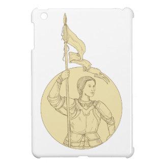 Weiblicher Ritter, der das Flaggen-Kreis-Zeichnen iPad Mini Hülle