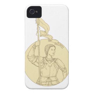 Weiblicher Ritter, der das Flaggen-Kreis-Zeichnen iPhone 4 Hülle