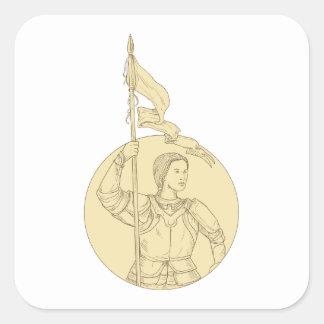 Weiblicher Ritter, der das Flaggen-Kreis-Zeichnen Quadratischer Aufkleber