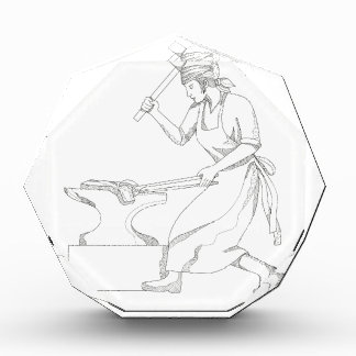 Weiblicher Schmied an der Arbeits-Gekritzel-Kunst Acryl Auszeichnung