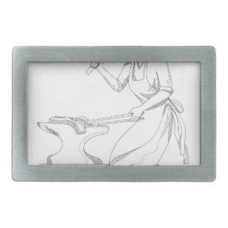 Weiblicher Schmied an der Arbeits-Gekritzel-Kunst Rechteckige Gürtelschnallen