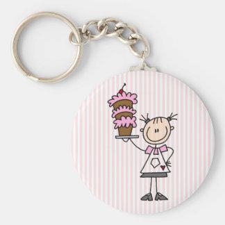 Weiblicher Strichmännchen-Bäcker Schlüsselanhänger