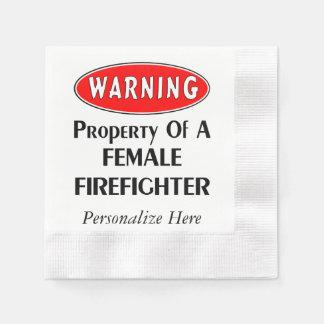 Weibliches Feuerwehrmann-Eigentum Serviette