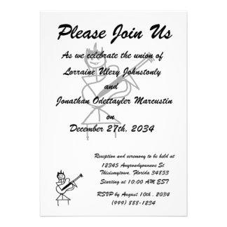 weibliches Gitarren-Strichmännchen Schwarzweiss Individuelle Einladungskarte