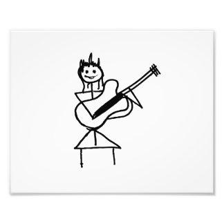 weibliches Gitarren-Strichmännchen Schwarzweiss Photodruck
