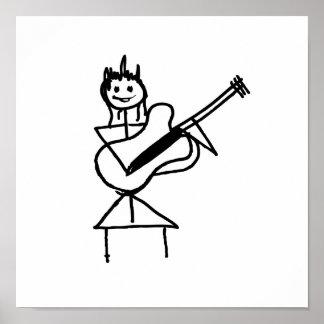 weibliches Gitarren-Strichmännchen Schwarzweiss Plakatdrucke