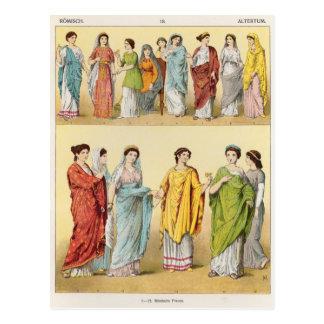 Weibliches römisches Kleid Postkarte
