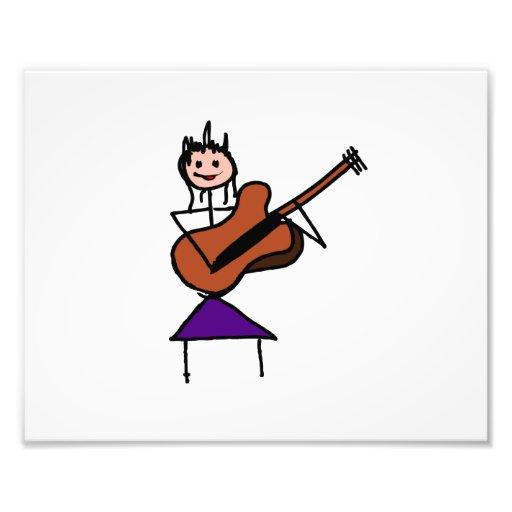 weibliches rosa Gesicht des Gitarren-Strichmännche Photographie