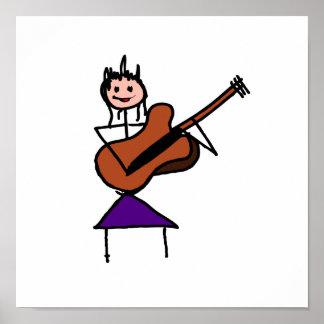 weibliches rosa Gesicht des Gitarren-Strichmännche Plakate