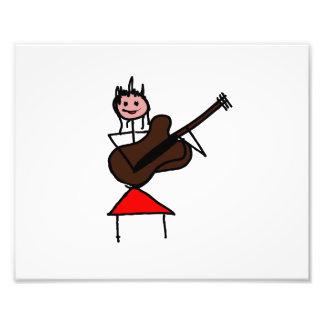 weibliches rosa Gesichtsrot des Gitarren-Strichmän Foto Drucke