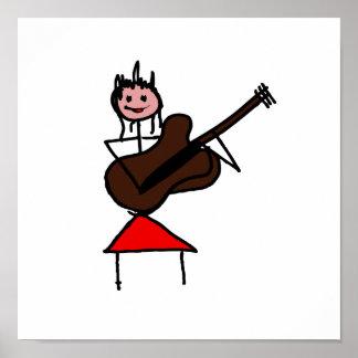 weibliches rosa Gesichtsrot des Gitarren-Strichmän Plakate