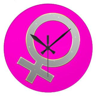Weibliches Symbol-runde Uhr