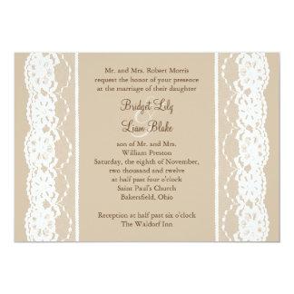 Weich beige und Vintage Spitze-Hochzeits-Einladung 12,7 X 17,8 Cm Einladungskarte