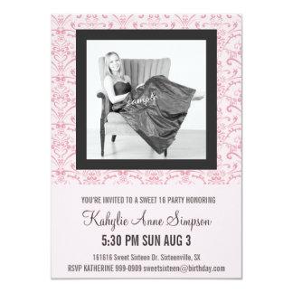 Weich Rosa und graues Party des Bonbon-16 11,4 X 15,9 Cm Einladungskarte