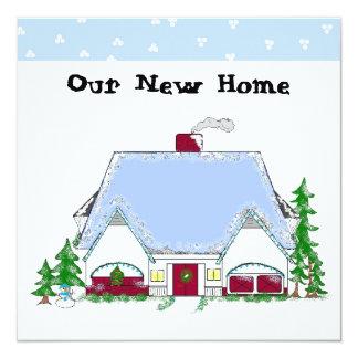 Weiche blaue neue Zuhause-Mitteilung Quadratische 13,3 Cm Einladungskarte