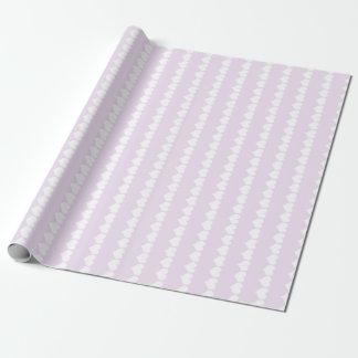 Weiche Flieder und weißes Herz-Streifen-Packpapier Geschenkpapier