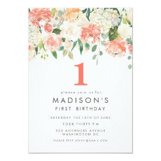 Weiche gemalter Blumenmädchen-1. Geburtstag laden 12,7 X 17,8 Cm Einladungskarte