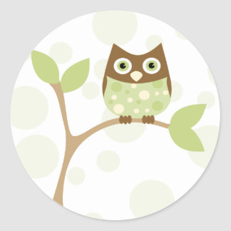 Weiche grüne Baby-Eule Runde Sticker
