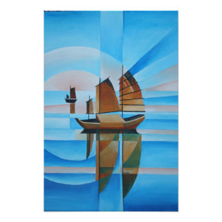 Weiche Himmel, Cerulean Meere und Cubist-Kram Fotodruck