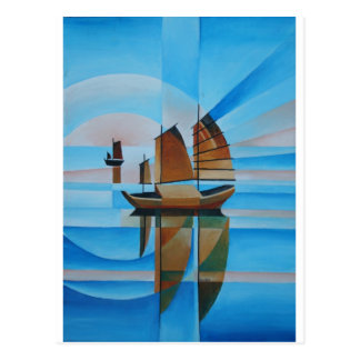 Weiche Himmel, Cerulean Meere und Cubist-Kram Postkarte