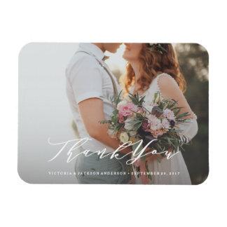 Weiche Kalligraphie-Hochzeit danken Ihnen Magnet