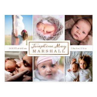Weiche Leinwand-Eukalyptus-Foto-Geburts-Mitteilung Postkarte