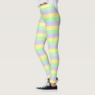 Weiche lila, gelbe und grüne Streifen Leggings