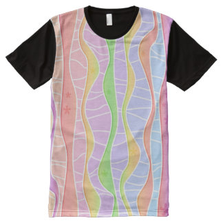WEICHE PASTELLstreifen T-Shirt Mit Komplett Bedruckbarer Vorderseite