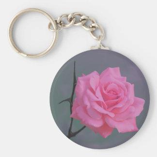 Weiche rosa Rosen-Blume Standard Runder Schlüsselanhänger