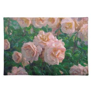 Weiche rosa Rosen Stofftischset