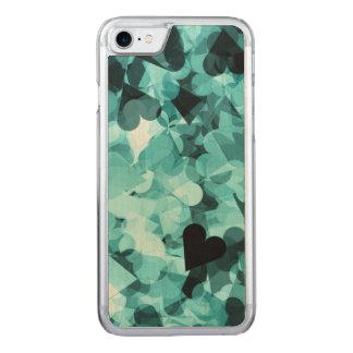 Weicher Baby-Blau Kawaii Herz-Hintergrund Carved iPhone 8/7 Hülle