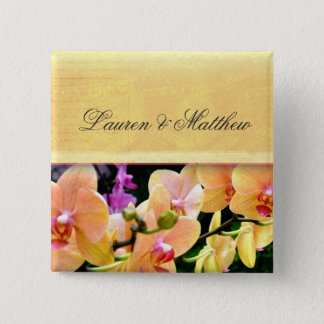 Weicher buttercream Orchideenentwurf Quadratischer Button 5,1 Cm