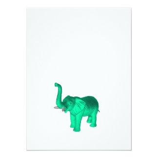 Weicher grüner Elefant 14 X 19,5 Cm Einladungskarte