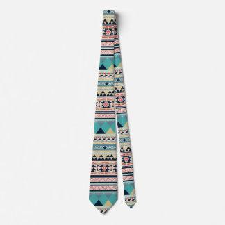 Weicher Südweststammes- Muster-Rosa-Türkis-Gold Krawatten