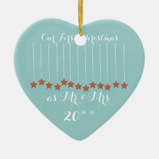 Weiches blaues Herz-erstes Weihnachten verzieren Keramik Ornament