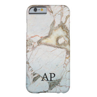 WEICHES BLAUES Marmor-MONOGRAMM personalisiertes Barely There iPhone 6 Hülle