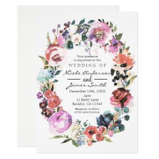 Weiches FarbAquarell-BlumenKranz-Hochzeit Karte