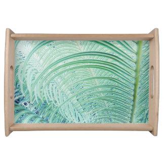 Weiches grünes Pflanzen-Palmblatt-Serviertablett Serviertablett