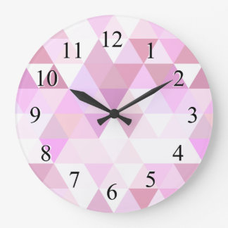 Weiches rosa geometrisches Dreieck-Muster Große Wanduhr