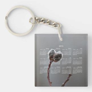 WeideCatkins nach Frühlingsregen; Kalender 2013 Einseitiger Quadratischer Acryl Schlüsselanhänger