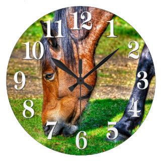 Weiden lassen Bucht-Pony-pferdeartiger Foto Große Wanduhr