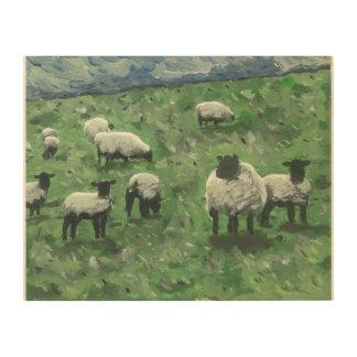 Weiden lassende Schafe Holzleinwand