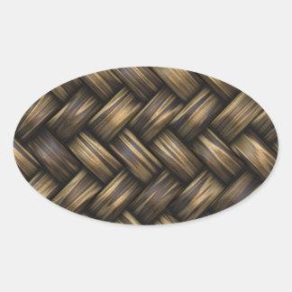Weidenrattan-Webart gesponnener Muster-Korb Ovaler Aufkleber
