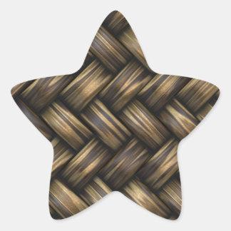 Weidenrattan-Webart gesponnener Muster-Korb Stern-Aufkleber