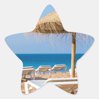 Weidensonnenschirm mit Strand beds.JPG Stern-Aufkleber