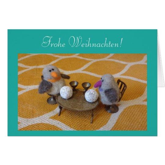 Weihnachstkarte mit süßem Pinguin-Paar Karte