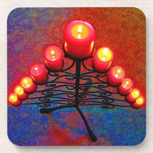Weihnacht,Advent, brennende rote Kerzen, Drink Untersetzer