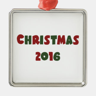 Weihnachten 2016 quadratisches silberfarbenes ornament