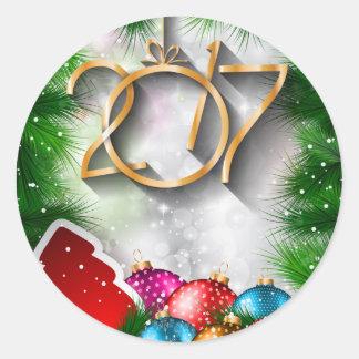 Weihnachten 2017 und neues Jahr-Gruß-Karte Runder Aufkleber